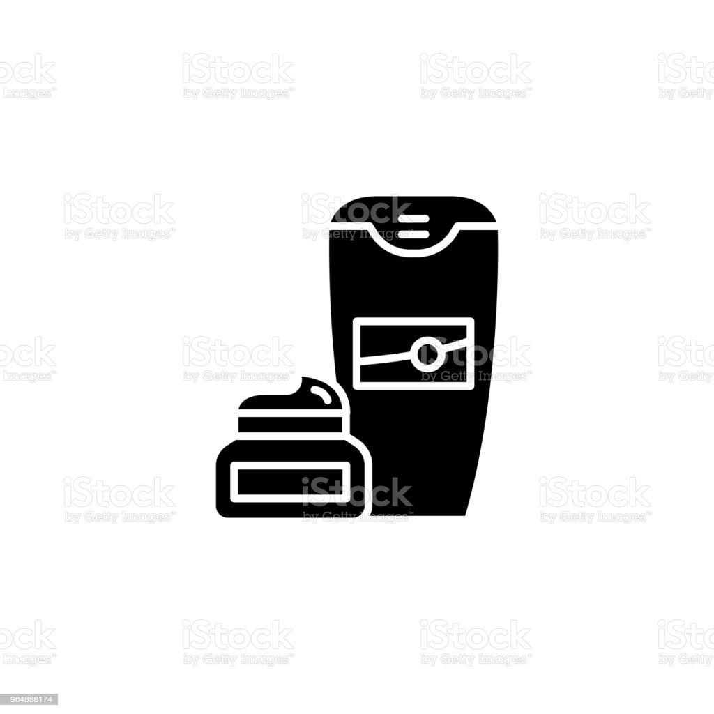 Conceito de ícone preto do creme de barbear. Símbolo de vetor plana de creme de barbear, sinal, ilustração. - ilustração de arte em vetor