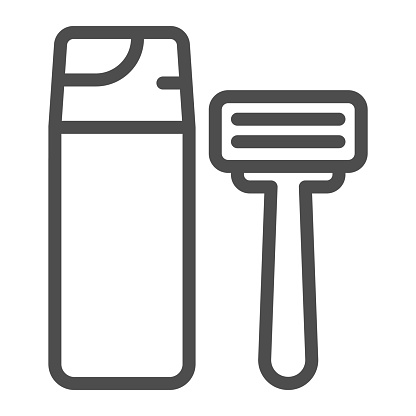 Shaving foam and razor line icon, Hygiene routine concept, Men skincare products sign on white background, Shaving foam bottle and shave razor icon in outline style. Vector graphics.