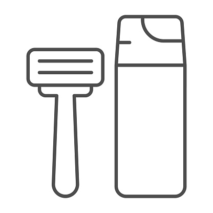 Shaving foam and razor thin line icon, Hygiene routine concept, Men skincare products sign on white background, Shaving foam bottle and shave razor icon in outline style. Vector graphics.