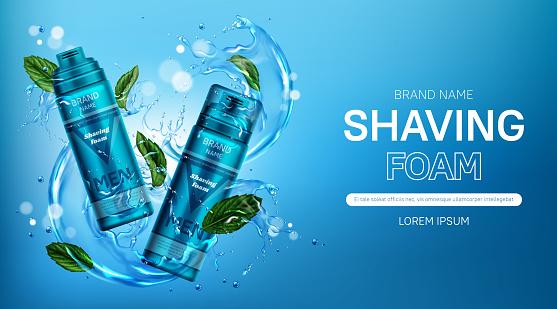 Shaving foam men cosmetic bottles banner with mint