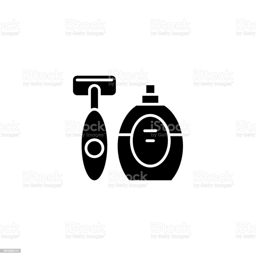 Shaving kit black icon concept. Shaving kit flat  vector symbol, sign, illustration. royalty-free shaving kit black icon concept shaving kit flat vector symbol sign illustration stock vector art & more images of barber