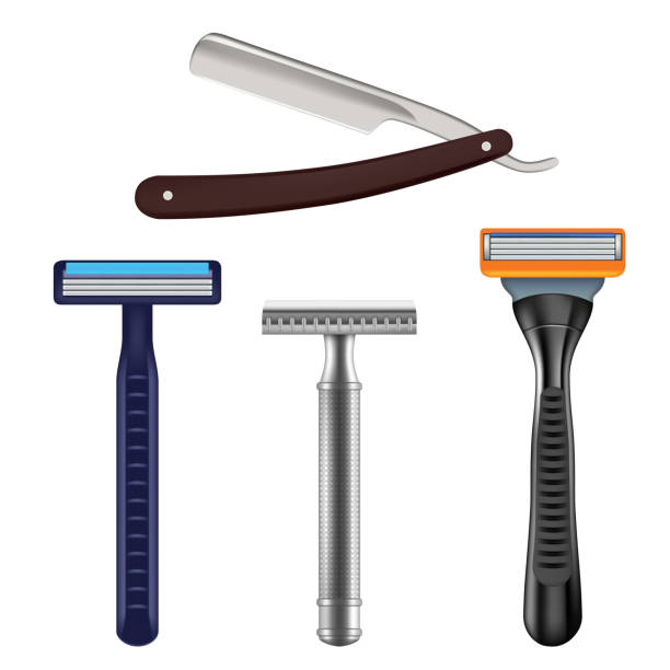 Shaving razor mockup set, vector realistic illustration Shaving razor mockup set. Vector realistic illustration of straight razor with brown handle and color wet shave razors for men. blade stock illustrations