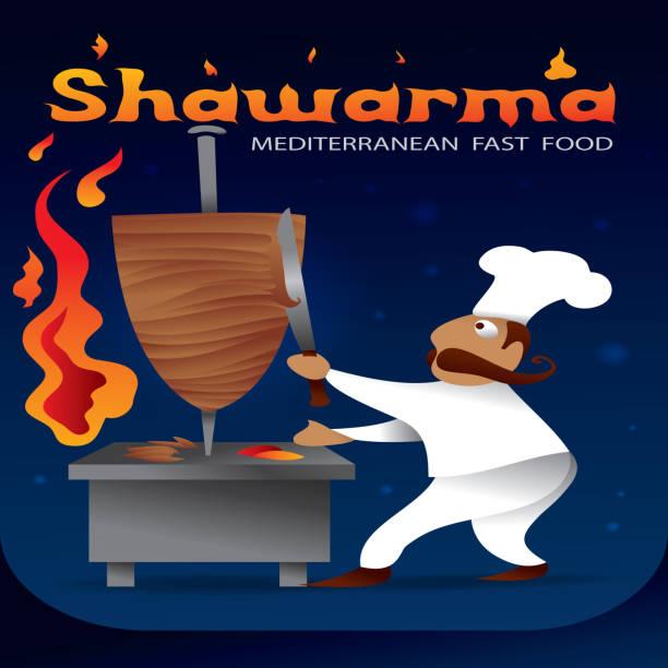 Shawarma, Arabic Fast food (Vector Art) vector art illustration