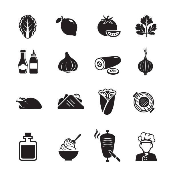 shawarma business icons - döner stock-grafiken, -clipart, -cartoons und -symbole