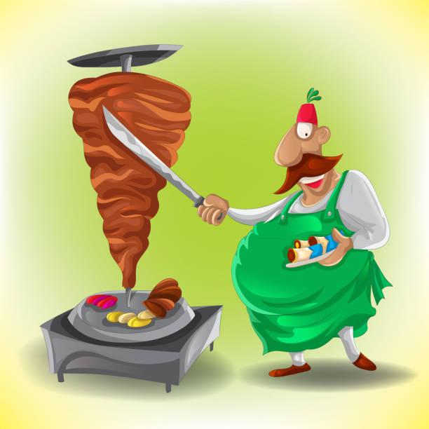 Shawarma chef (Vector) vector art illustration