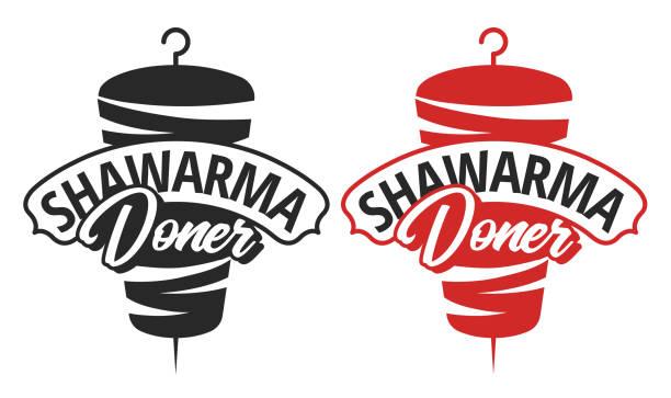 shawarma doner logo vorlage vektor - döner stock-grafiken, -clipart, -cartoons und -symbole