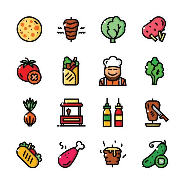 shawarma icons set, vektor-illustration - döner stock-grafiken, -clipart, -cartoons und -symbole