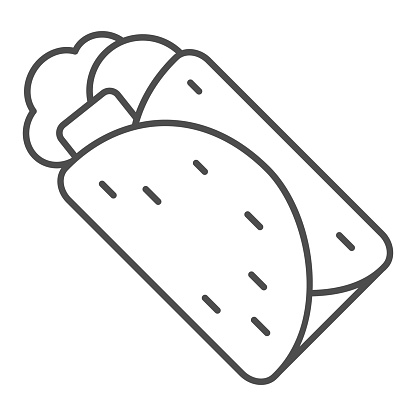 Shawarma thin line icon, Street food concept, Doner kebab sign on white background, Shawarma icon in outline style for mobile concept and web design. Vector graphics.