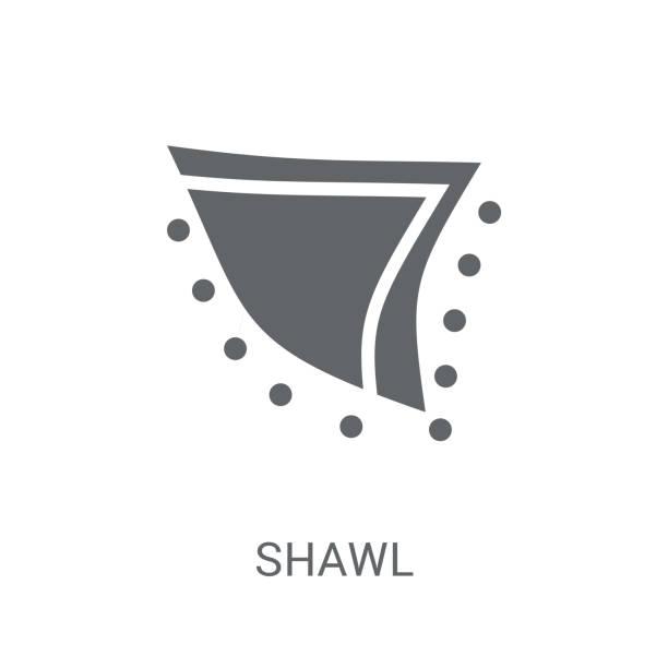 schal-symbol. trendiger schal logokonzept auf weißem hintergrund aus kleidersammlung - pashminas stock-grafiken, -clipart, -cartoons und -symbole