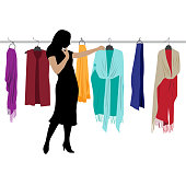 Winter collection shawls and woman shopping