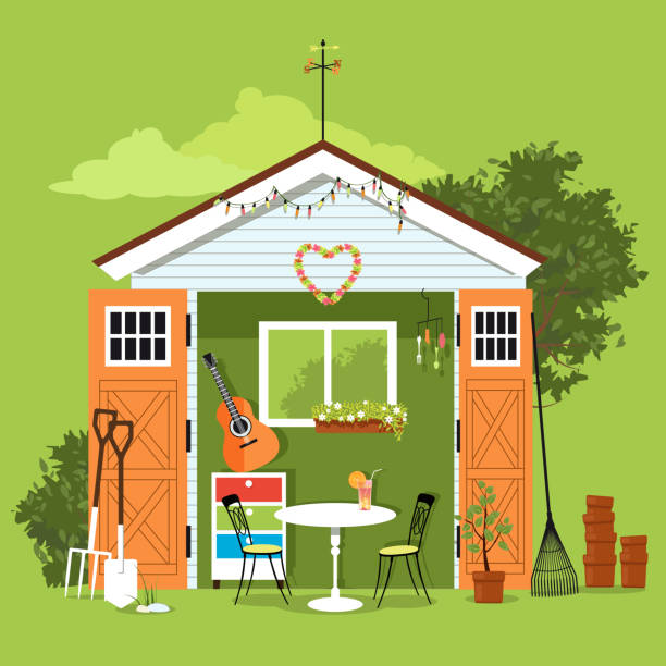 She shed She shad in a garden with a set of furniture, gardening tools and art and craft station, EPS 8 vector illustration shed stock illustrations