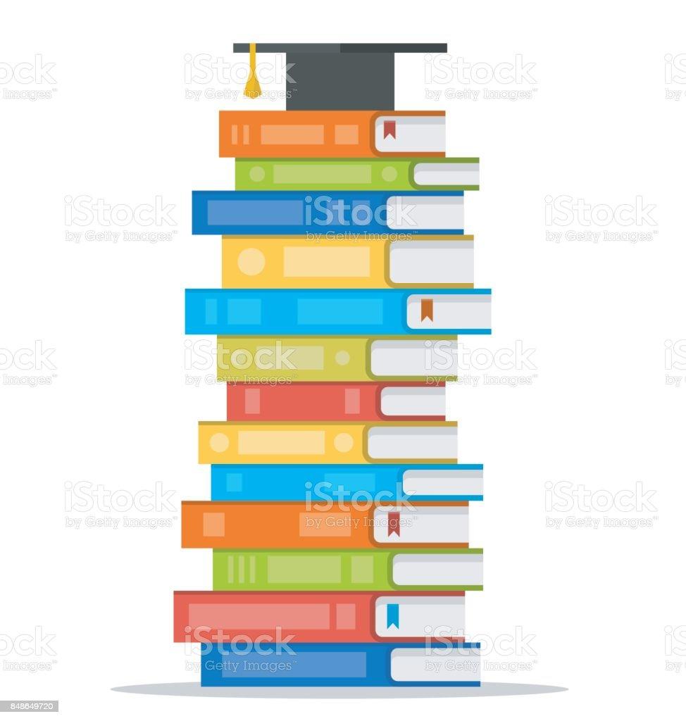 Bundel van kleurrijke boeken met vierkant academische cap op de top van het. Vectorillustratie platte ontwerp stijl - Royalty-free Begrippen vectorkunst