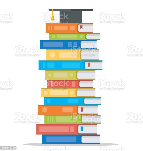 Bundel Van Kleurrijke Boeken Met Vierkant Academische Cap Op De Top Van Het Vectorillustratie Platte Ontwerp Stijl Stockvectorkunst en meer beelden van Begrippen