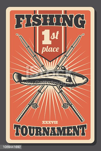 Fishing tournament retro poster, first place winner announcement or fisherman sport championship. Vector vintage fisher rod with hooks and catfish fsh catch