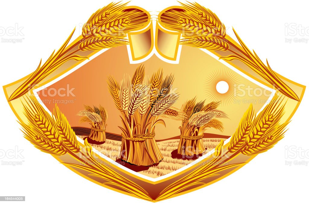 Sheaves of wheat  in Diamond frame royalty-free stock vector art