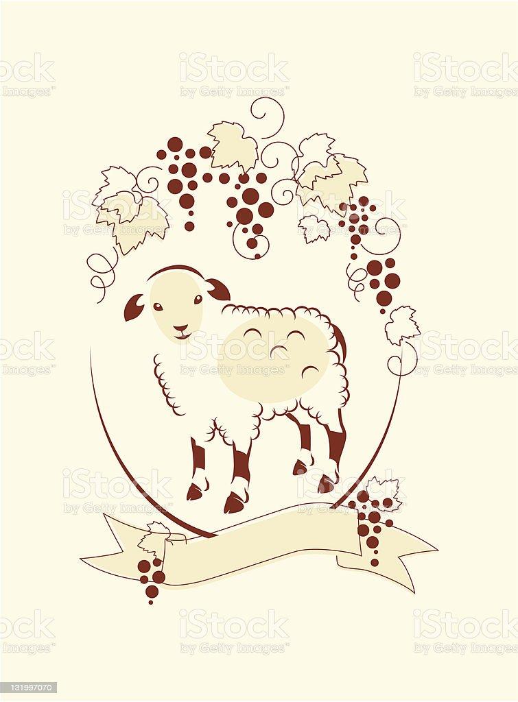 Sheep and Grape royalty-free stock vector art