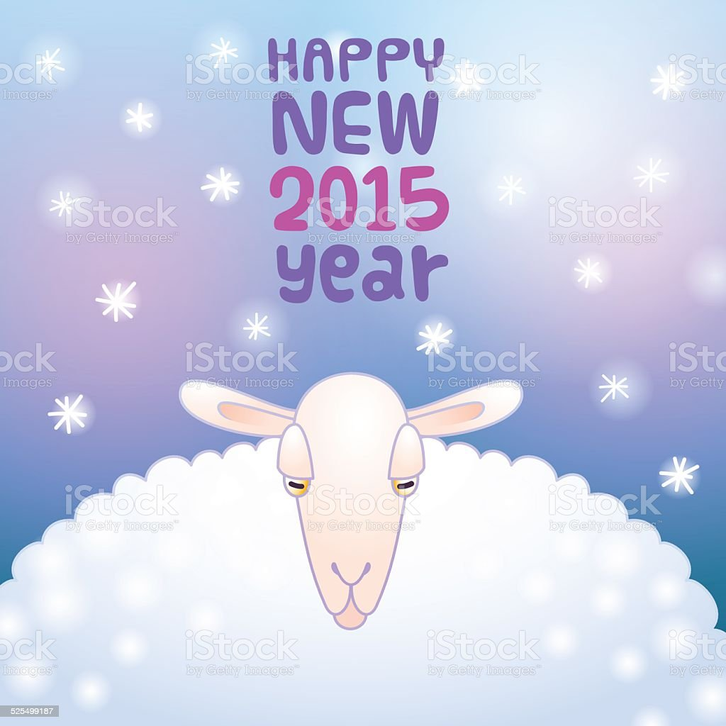 sheep and snow new year card royalty free stock vector art