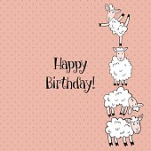 vector template of birthday greeting card with funny sheep