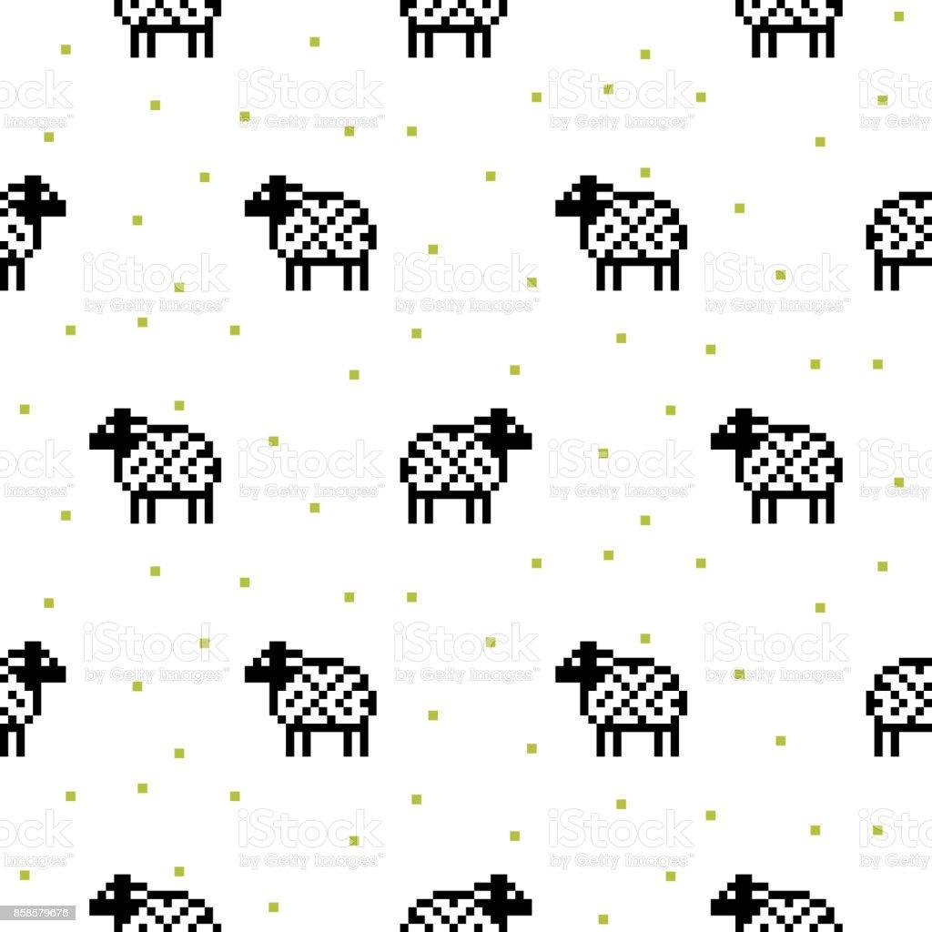 Mouton Noir Et Blanc Dessin Animé Modèle Sans Couture De
