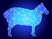 Sheep  Blue Triangle Node Vector Pattern. The main object depicted in this royalty free vector illustration is created with the triangular line pattern. The individual lines form nodes with small circles on each of the vertices. The background is white with a slight gradient around the edges.