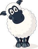 Fully editable vector illustration of a cartoon sheep.