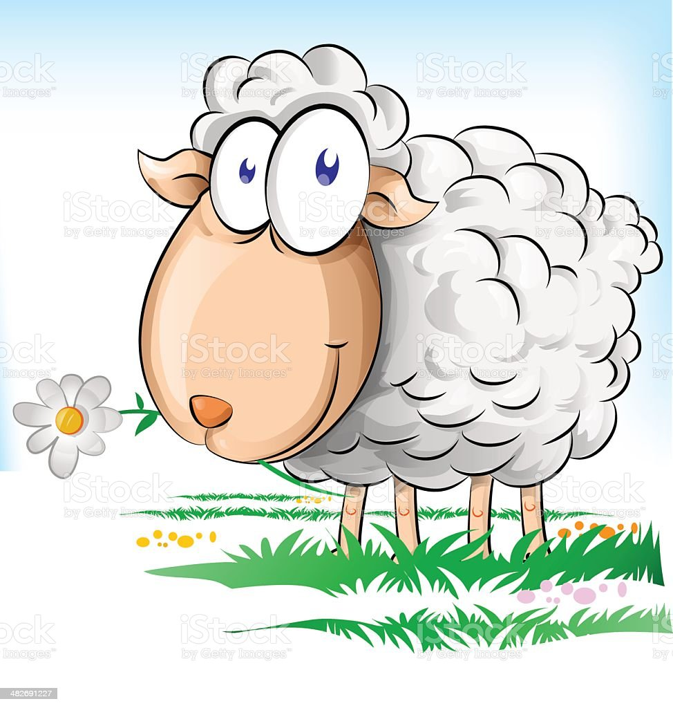 sheep cartoon vector art illustration