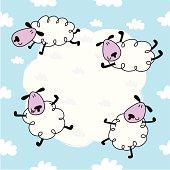 Cool sheep & cloud seamless pattern.