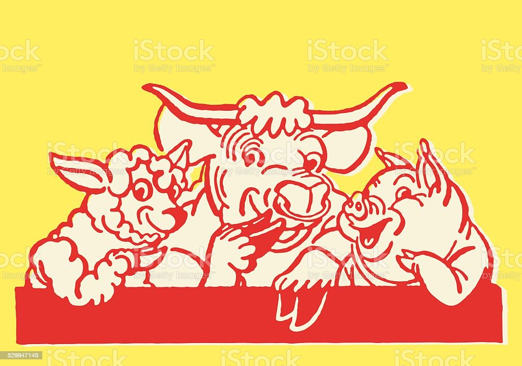 Sheep Cow and Pig Laughing vector art illustration