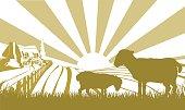 Sheep farm scene