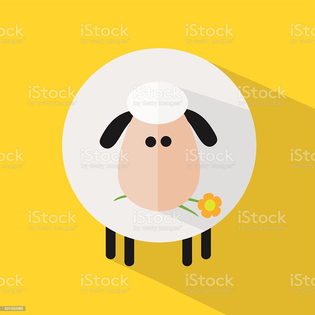Sheep Flat Design And Flower With Yellow Background Stock Vector Art