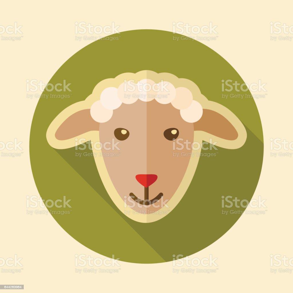 Sheep flat icon. Animal head vector illustration - Illustration vectorielle