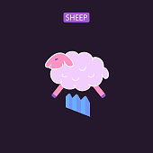 Sheep flat icons logo vector illustration. Symbols of counting jumping sheep. Insomnia sleep problem. Design element for website brochure infographic