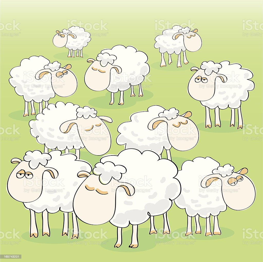 Sheep Group vector art illustration