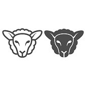 Sheep head line and solid icon, Farm animals concept, lamb sign on white background, silhouette of sheep face icon in outline style for mobile concept and web design. Vector graphics