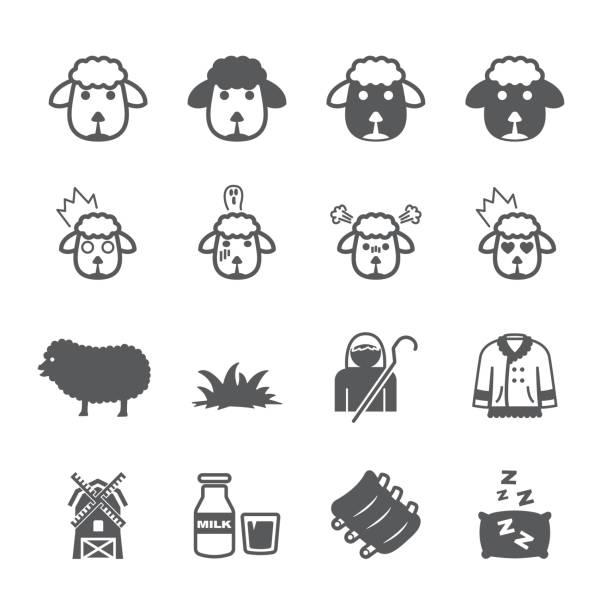 Ensemble de icône de mouton - Illustration vectorielle