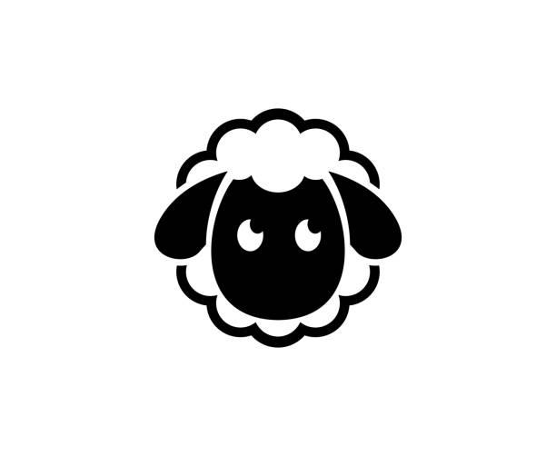 stockillustraties, clipart, cartoons en iconen met schapen pictogram - wollig