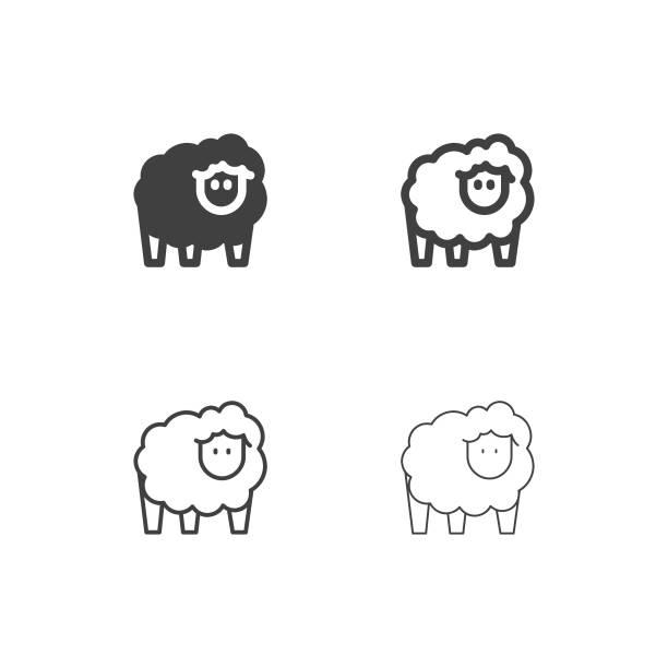 stockillustraties, clipart, cartoons en iconen met schapen icons - multi-serie - schaap