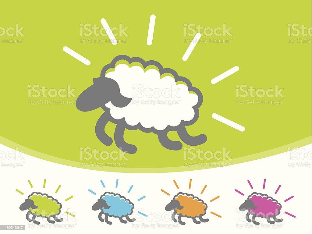 Sheep Icons vector art illustration
