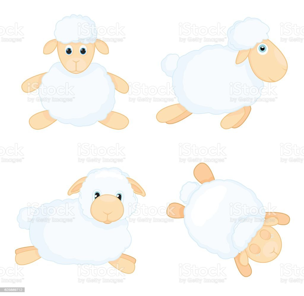 Sheep in cartoon style isolated on white background. vector art illustration