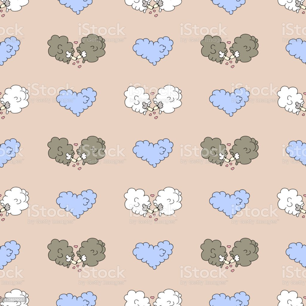 恋の羊かわいい手描画シームレス パターン布のデザイン壁紙包装繊維