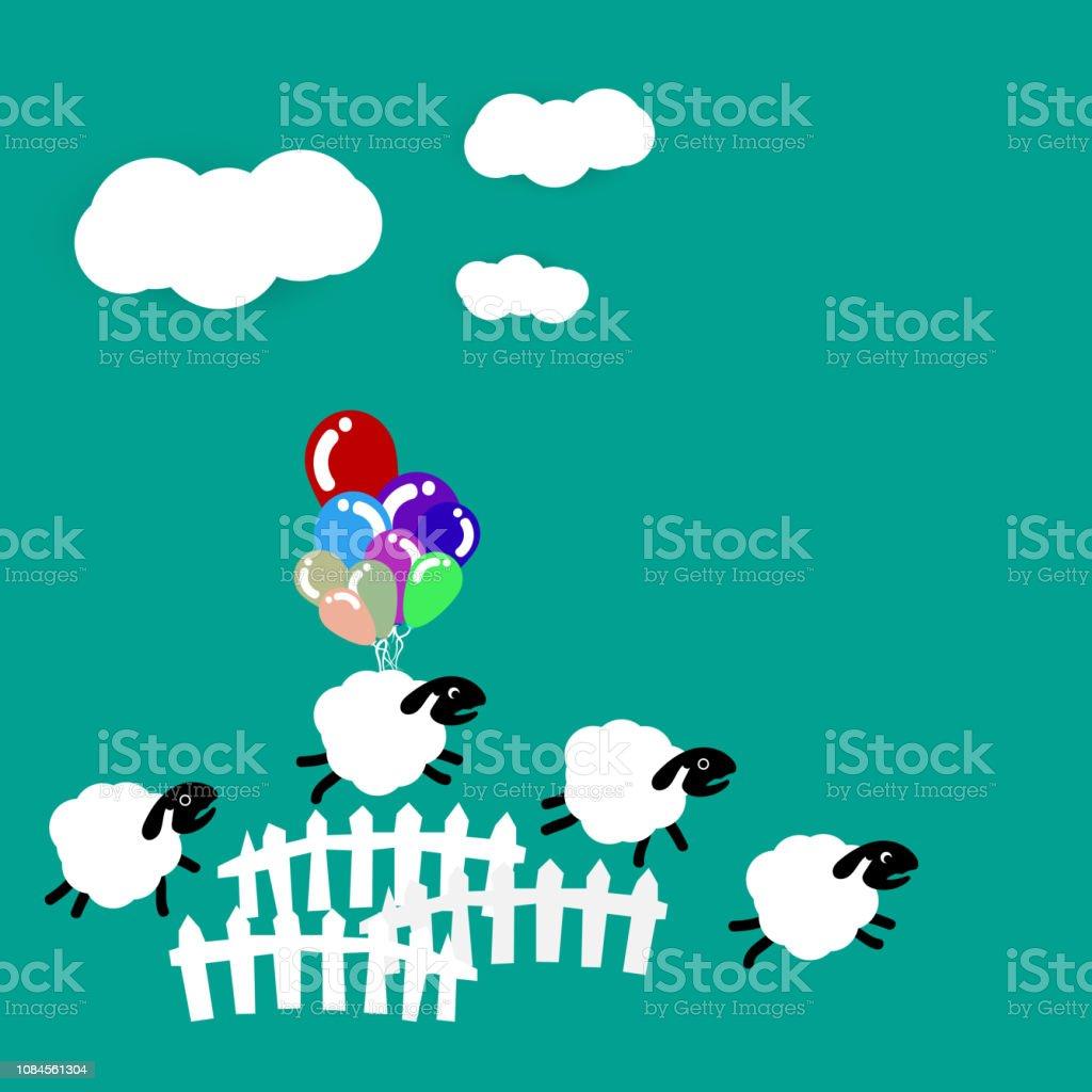 羊はかわいい子供たちの壁紙の抽象的な背景を使用して眠っている夢概念