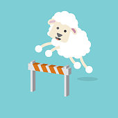 istock Sheep Jumping On Green Background Vector Illustration. 1313403672