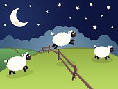 Three cute sheep jumping over a fence in a rolling night landscape.