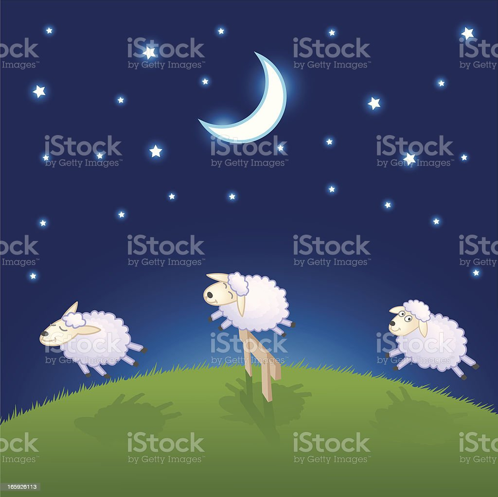 Sheep Jumping Over The Fence vector art illustration