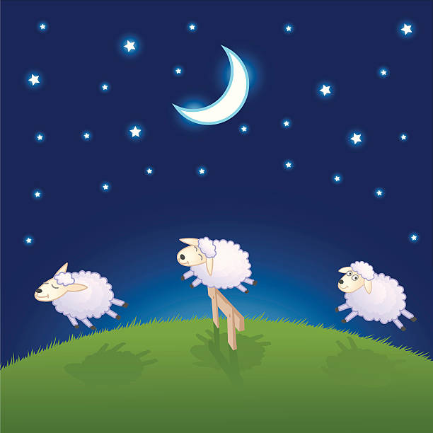 Sheep Jumping Over The Fence A vector illustration of sheep jumping over the fence. counting stock illustrations