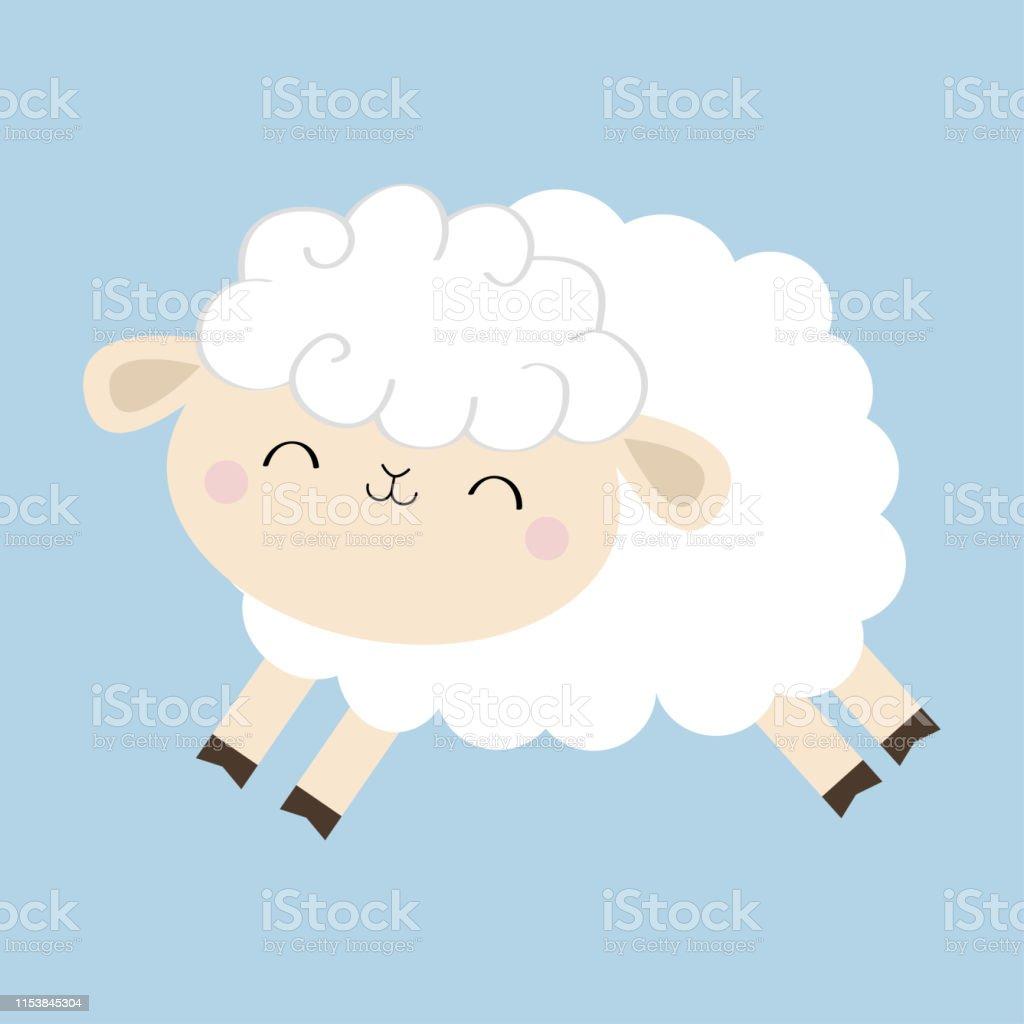 Icône De Mouton Agneau Forme De Nuage Animal Sautant Mignon