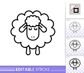 Sheep thin line icon. Lamb banner in flat style. Sleep poster. Linear pictogram. Simple illustration, outline symbol. Vector sign isolated on white. Dream Editable stroke icons without fill