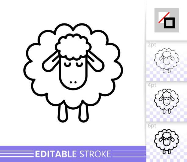 stockillustraties, clipart, cartoons en iconen met schapen lam slapen eenvoudige dunne lijn vector icoon - schaap