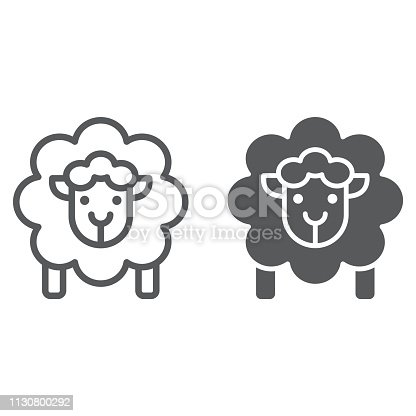 Sheep line and glyph icon, wool and animal, lamb sign, vector graphics, a linear pattern on a white background, eps 10.