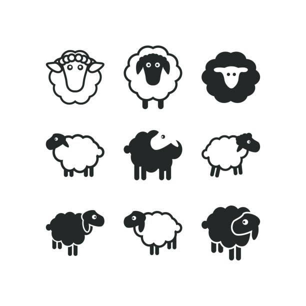 stockillustraties, clipart, cartoons en iconen met schapen logo pictogrammalplaatje - schaap